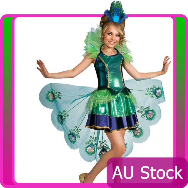 Girls Peacock Costume Child Bird Halloween Book Week Party Kids Fancy Dress