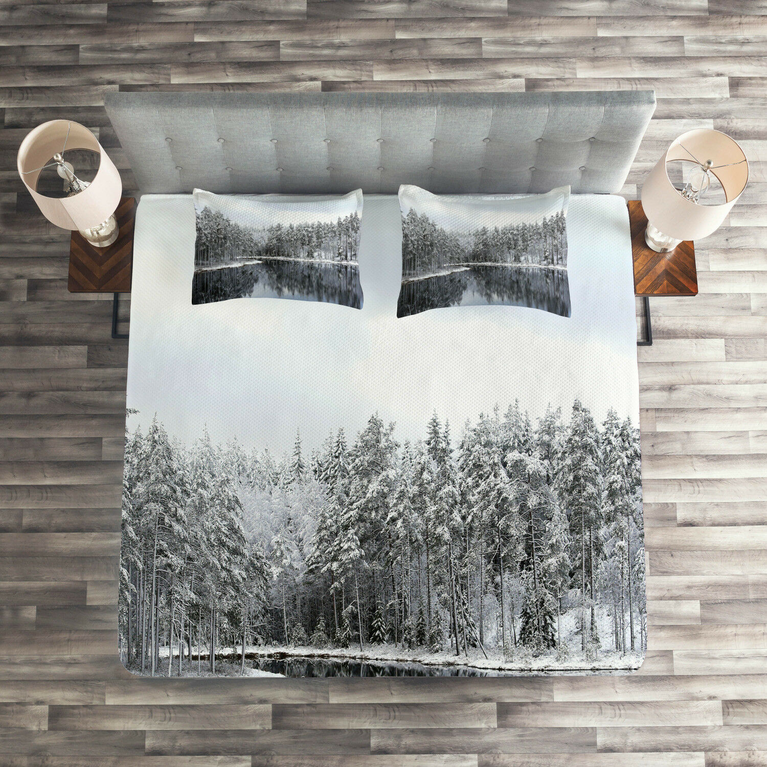 Winter Quilted Coverlet & Pillow Shams Set, Trees in Cold Day Lake Print