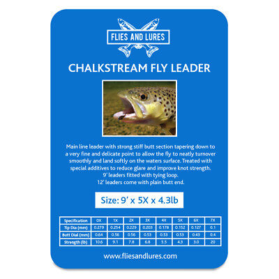 """""""chalkstream"""" Fly Line Leader 0x 1x 2x 3x 4x 5x 6x X 9' Looped Fast & Free Post Elegant En Stevig Pakket"""