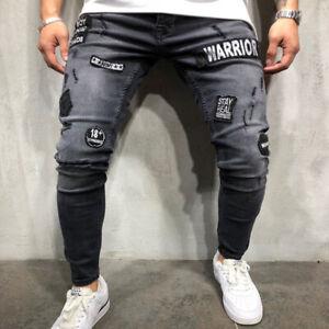 Pantalones Vaqueros Ajustados Hip Hop De Moda Para Hombres Con Agujeros Bordados Ebay
