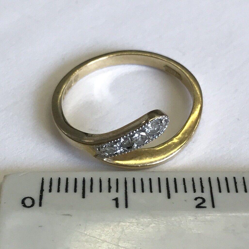 VINTAGE VINTAGE VINTAGE Solido 9 KT oro quattro Pietra Diamante Serpente Stile Abito a&co Anello Taglia K1 2 8e720d