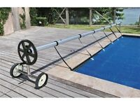 Stainless Steel 21 Ft Inground Swimming Pool Cover Reel Tube Set Solar Cover on sale