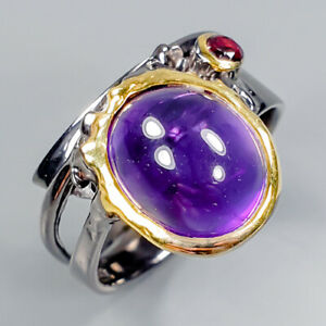 Handmade-Natural-Amethyst-925-Sterling-Silver-Ring-Size-7-25-R100122