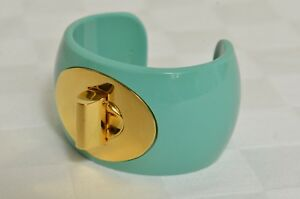 Coach-Turquoise-Gold-Turnlock-Wrist-Cuff-Bracelet-AUTHENTIC-BRAND-NEW
