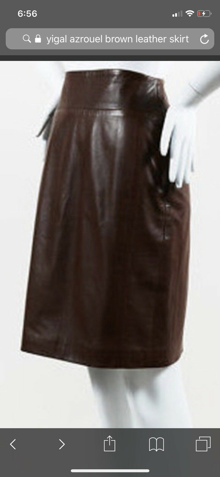 Yigal Azrouel Brown High Rise Leather Skirt Sz6