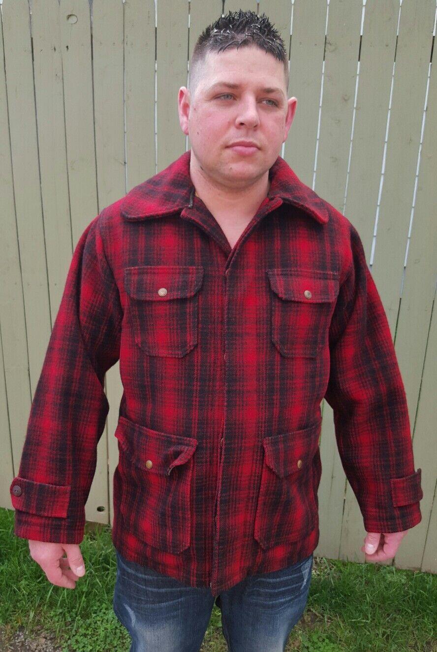 Vintage Vintage Vintage Mens Woolrich LumberJack rot schwarz Buffalo Plaid Mackinaw Hunting Jacket dfe