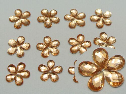 500 Shiny Flatback Acrylic Faceted Flower Rhinestone Gems 10mm Color For Choice