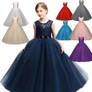 42e9fcf4d Lace Flower Girl Dress Maxi Long Formal Ball Gown for Kids Wedding ...