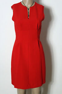 Mango-Kleid-Gr-XS-rot-kurz-mini-aermellos-Etui-Kleid