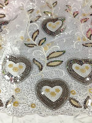 "WHITE MESH W/SILVER SEQUINS GOLD EMBROIDERY LACE FABRIC 52"" WIDE 3 YARD"