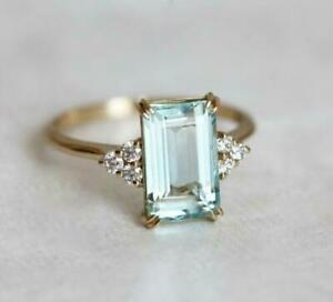 2-Ct-Emerald-Cut-Aquamarine-Solitaire-Diamond-Wedding-Ring-14K-Yellow-Gold-Over
