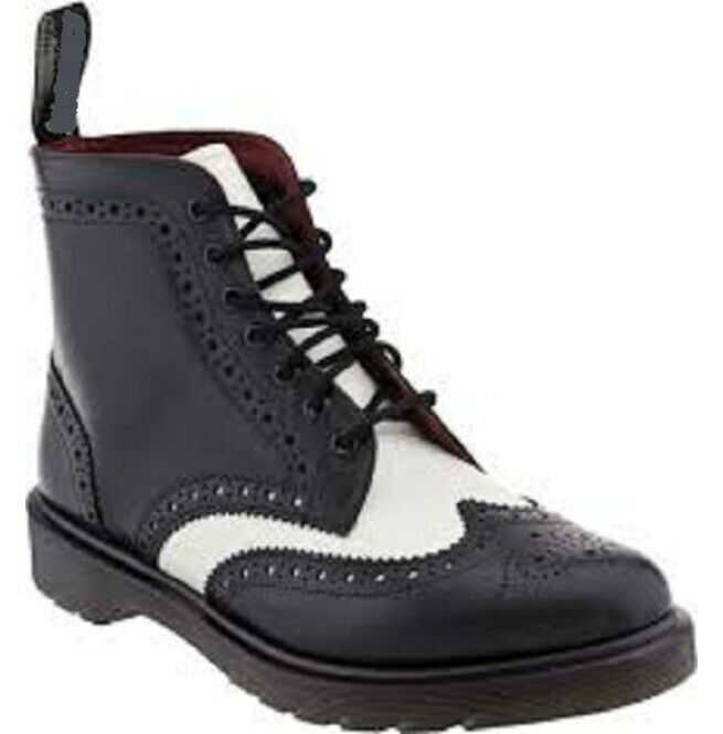 Zapatos De Cuero botas para hombre hecho a mano Negro y blancoo de extremo de ala Tobillo Real ropa formal