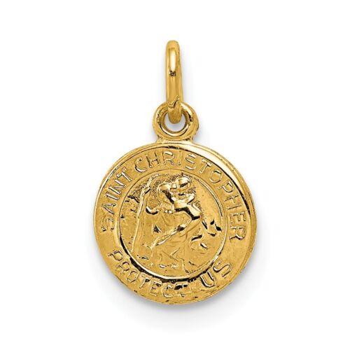 """Christopher /""""nous protéger/"""" Religieux Médaille Charm 14K Or Jaune Poli St"""