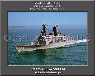USS Callaghan DDG-994 postcard Guided Missile Destroyer US Navy
