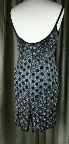 silver Uk10 Silk Dress Cocktail Twilight Size Black Eu40 Monsoon Beaded In4PCgxqwW