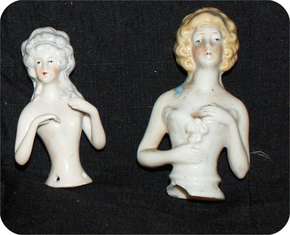 2  Antique GeruomoY Pin Cushion Half bambola Arms & Hes Away  Flower  14756  risposta prima volta