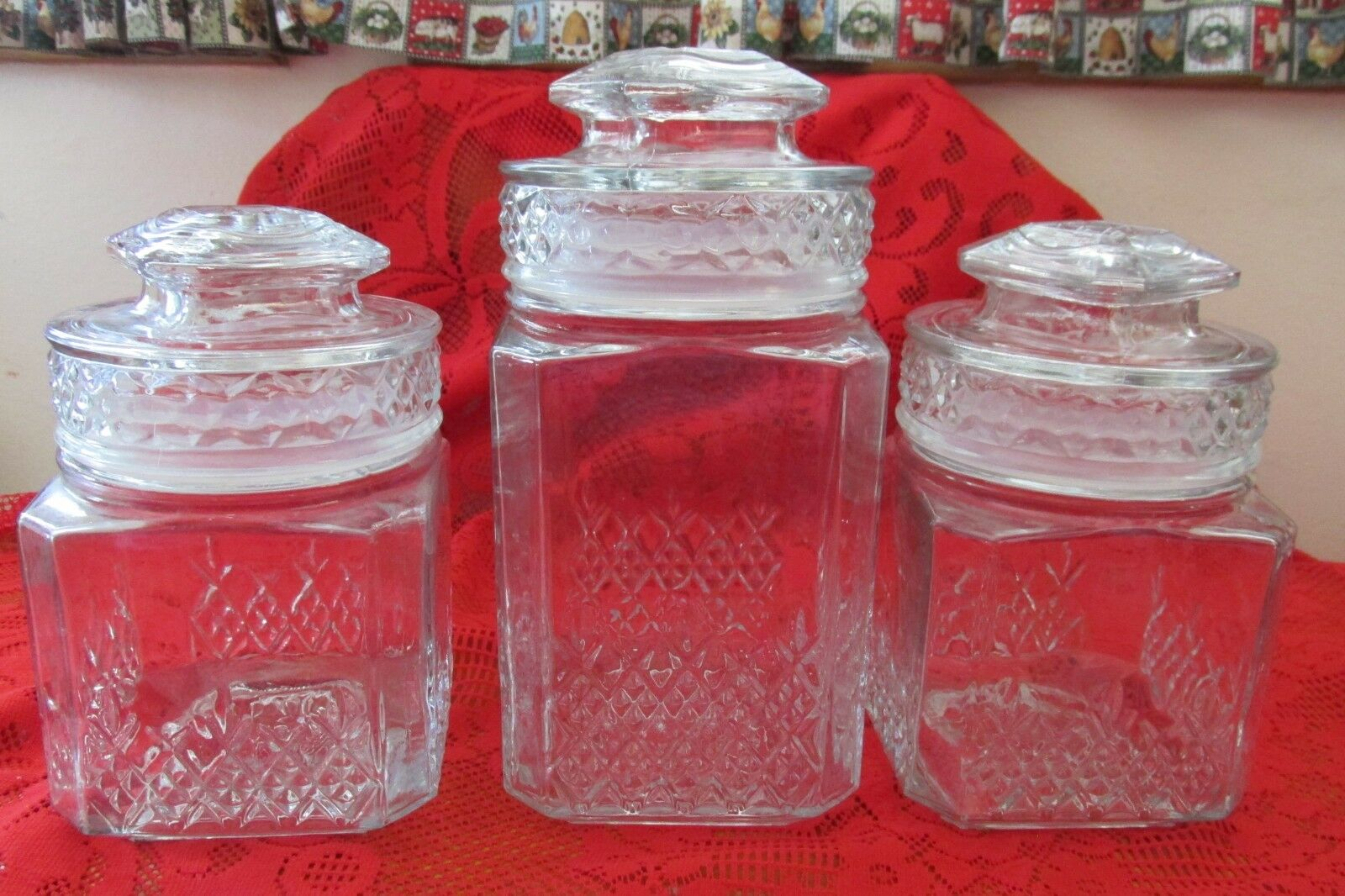 Lot of 3 Koeze s, Clear Glass Apothecary Candy Jars,  seals w Lids, 2 sizes