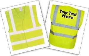 Personalized-Hi-Vis-Vests-Printed-EN471-All-Sizes-Mens-Women-039-s-Work-Safety-Vest