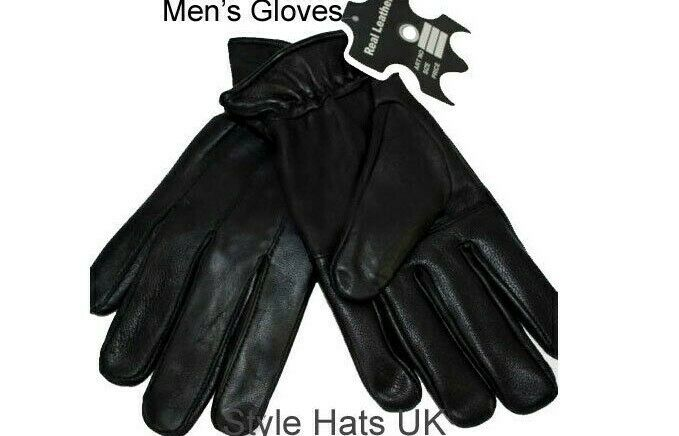 Black 100% Genuine Leather Gloves Small Medium Large XL and XXL Winter Gloves