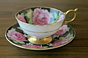 RARE-Aynsley-Black-Cabbage-Roses-Teacup-Tea-Cup-Saucer-Pink-Gold-Gilded-floating