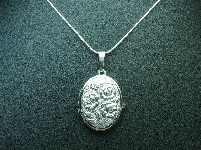 925 Sterling silver Kette & Anhänger   Medaillon   blueme   Echtsilver   45,5cm