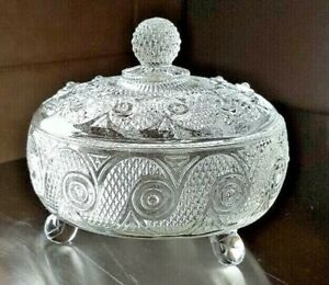 Vintage-Avon-Vanity-Powder-Box-Candy-Dish-Trinket-Clear-Footed-Glass-Bowl-amp-Lid