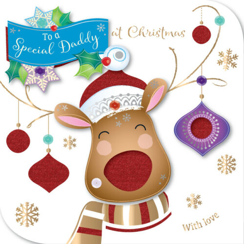 Special Daddy Embellished Christmas Greeting Card Talking Pictures Cards