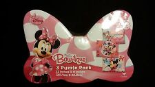 Disney Minnie Mouse Bow-Tique 3 Pack 12x9 Puzzle Tin Big Pink Bow