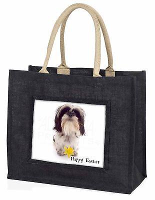 'Frohe Ostern' SHIH TZU + Daffodil große schwarze Einkaufstasche Weihnachten,