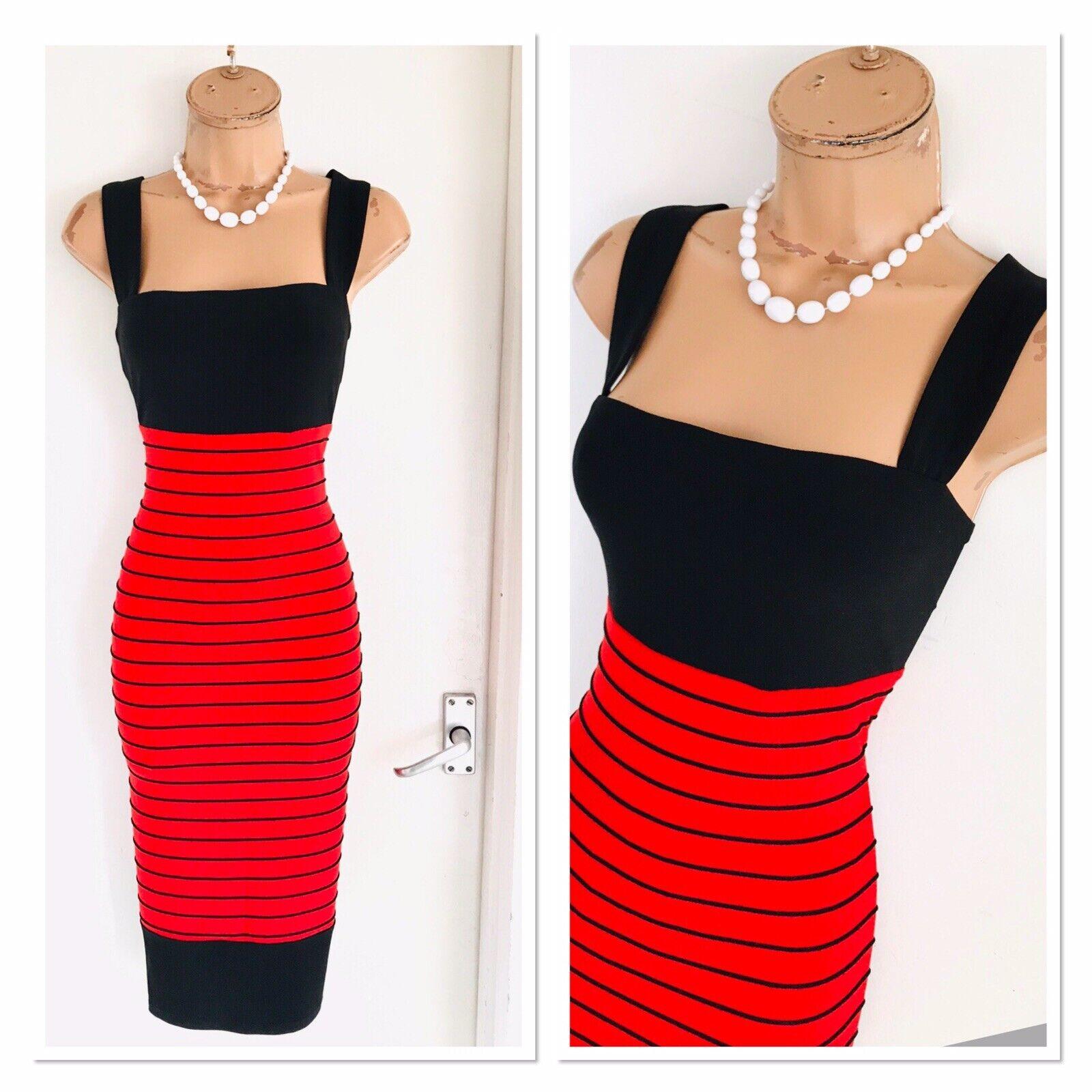 FRANK LYMAN rot schwarz  Striped  Stretchy Bodycon Dress Uk 12-14