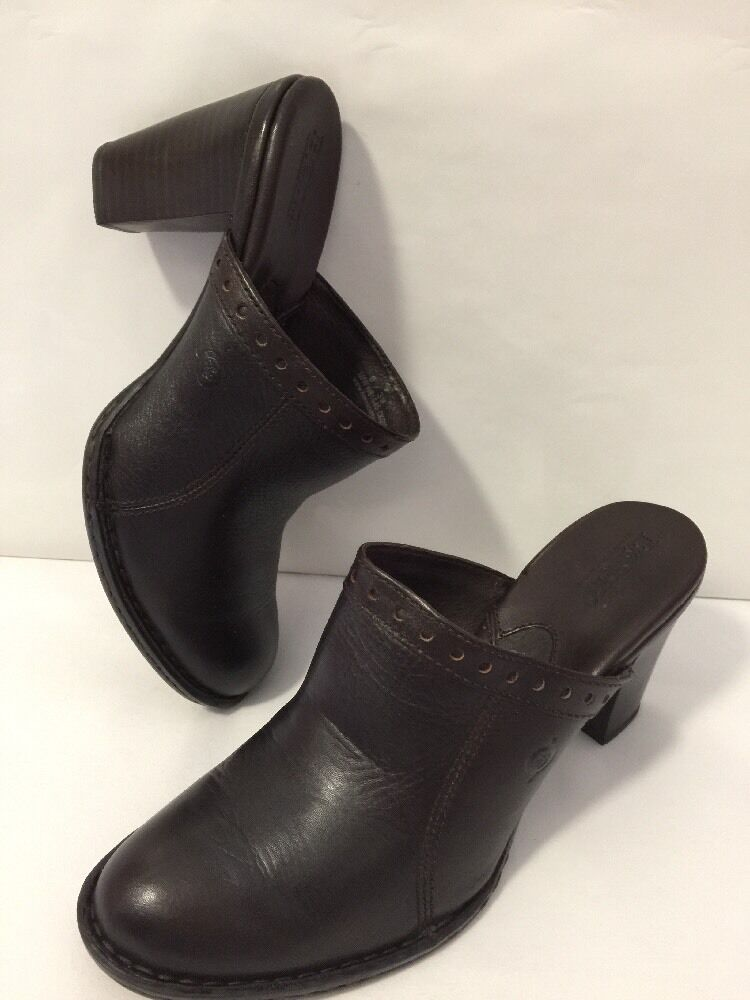 BORN Handcrafted Footwear Womens 8 Brown Leather Mules Clogs Heel Slides shoes