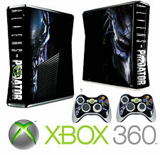 Xbox 360 SLIM Console Sticker Skin Aliens & Predators Style skin & 2 X Pad Skins