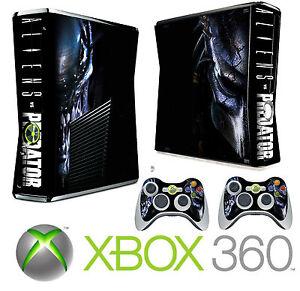 Xbox 360 SLIM Console Sticker Skin Aliens & Predators ... Xbox 360 Console Skins