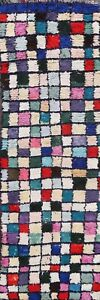 Authentic-Moroccan-Berber-Vegetable-Dye-Runner-Rug-Hand-knotted-Plush-Wool-3x8