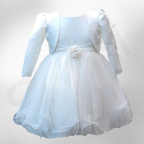 UK BABY GIRLS IVORY BOLERO WEDDING BRIDESMAID CHRISTENING DRESSES 0 TO 24 MNTS