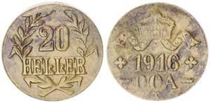Colonies German East Africa 20 Heller J.724 B Brass Ll Accurate (11) VF / Vf-Xf