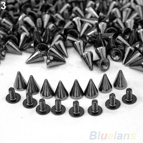 100 PCS Trendy 10MM Silver Spots Cone Screw Metal Studs Rivet Bullet Spikes BGBU