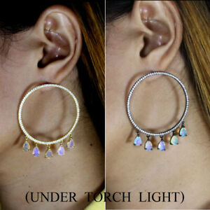 Unheated-Pear-Fire-Opal-Rainbow-Luster-7x5mm-Cz-925-Sterling-Silver-Big-Earrings