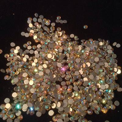 Genuine Crystal Gems Peach AB Multi Coloured Rhinestone Flatback Nail Art Design