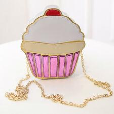 CUPCAKE BAG  Cherry Cup Cake Handbag Food Sweets Clutch Pink Retro Vintage