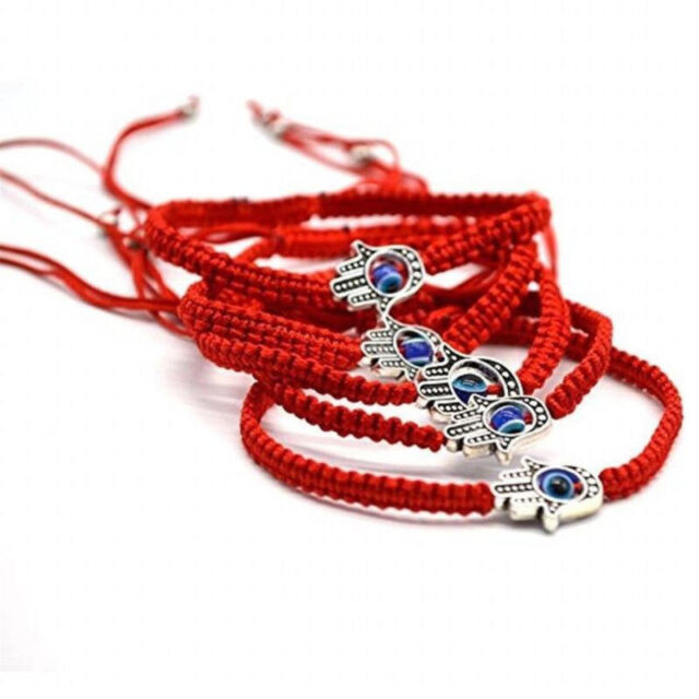 5X Good Luck Kabbalah BRACELET Hamsa Hand of GOD Evil Eye Adjustable Red String