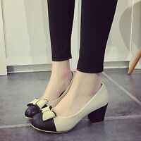 Korean Mary Jane Bowknot Cuban Heel Slip On Womens Dress Shoes Pumps Plus Size