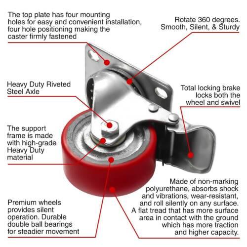 "4 Pack 3/"" Heavy Duty Caster Swivel w// Brake Polyurethane on Cast Iron Wheels"
