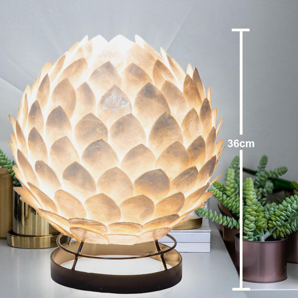 Luxus Schreib Tisch Leuchte weiß Arbeits Zimmer Muschel Strahler Lese Lampe
