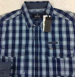 BUFFALO-DAVID-BITTON-Men-039-s-L-S-Shirt-L-Large-Blue-Checked-NWT-Flip-Cuffs-79