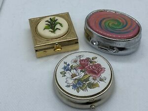 Vintage-Trinket-Box-Pill-Box-1960-s-Color-Swirl-Flowers-Gold-Silver-Set-Of-3