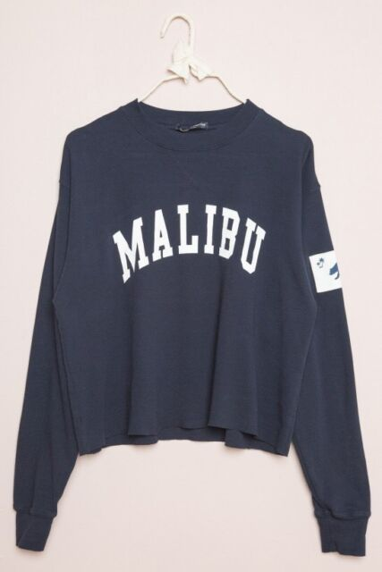 New! Brandy Melville Navy Blue Crewneck Acacia Malibu CA Bear Flag Top NWT S/M