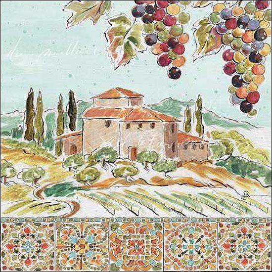 Daphne brissonnet  Tuscan Breeze II telaio-Immagine Tela Toscana Villa