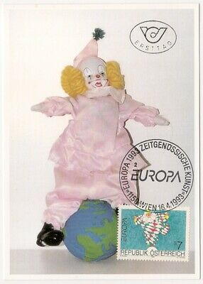 100% Wahr Maximumkarte Österreich 1993 Zirkus, Clown, Harlekin