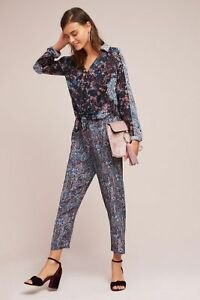 c0d21039297 Image is loading New-Anthropologie-Woven-Twist-Front-Jumpsuit-by-Maeve-